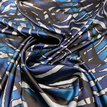 Tissu satin de soie stretch imprimé zèbre bleu