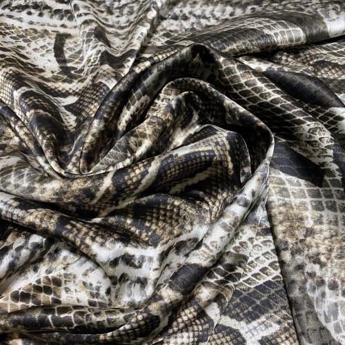 Tissu satin de soie stretch imprimé python