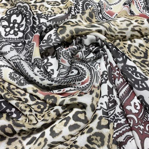 Tissu mousseline de soie 100% soie imprimé panthère florale