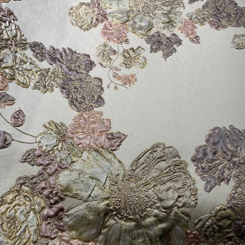 Floral print silk brocade fabric