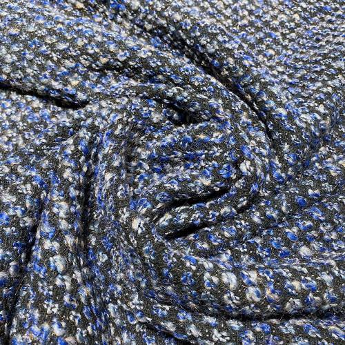Tissu tissé et irisé effet tweed bleu