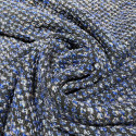 Woven and iridescent blue tweed fabric