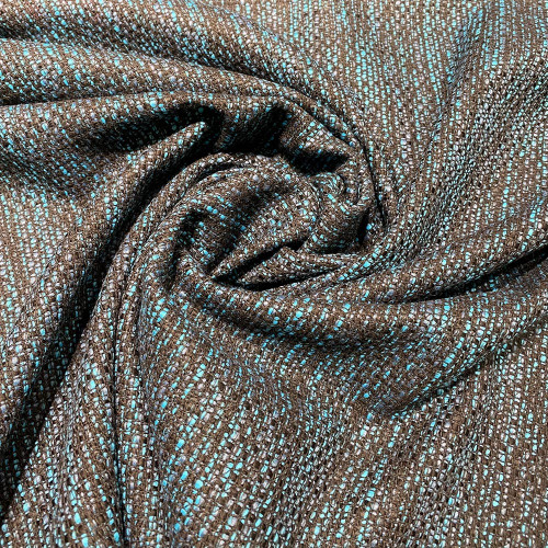 Woven and iridescent turquoise tweed fabric