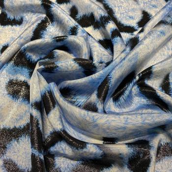 Tissu lamé de soie imprimé panthère turquoise