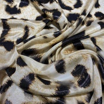 Panther print silk lamé fabric