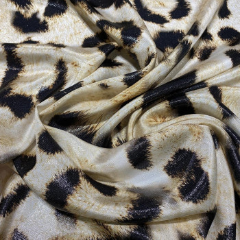 Tissu lamé de soie imprimé panthère