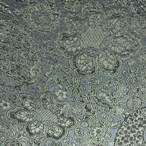 Tissu brocart de soie imprimé floral vert