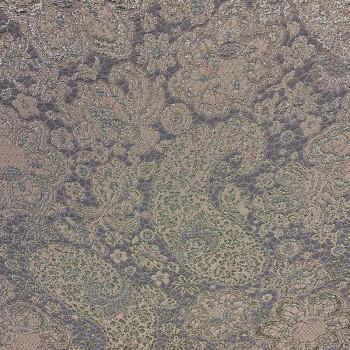 Tissu brocart de soie imprimé floral parme