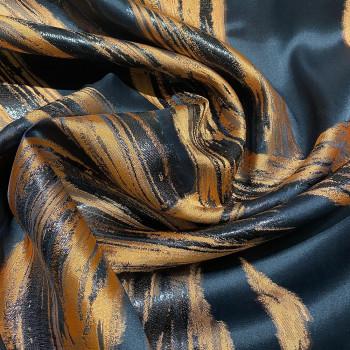 Tissu brocart de soie imprimé zèbre orange