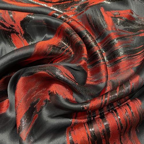 Tissu brocart de soie imprimé zèbre rouge