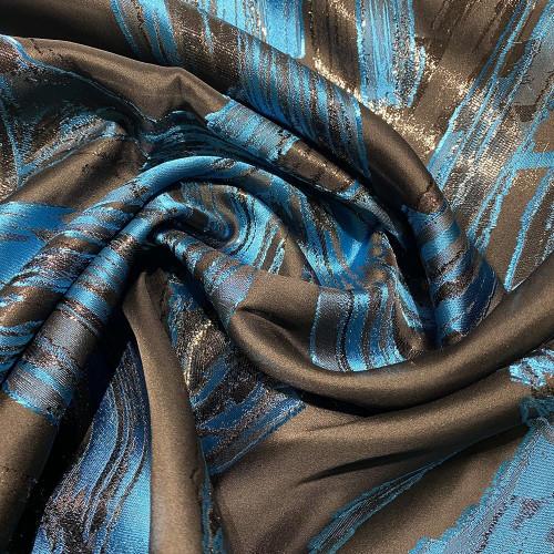 Tissu brocart de soie imprimé zèbre bleu
