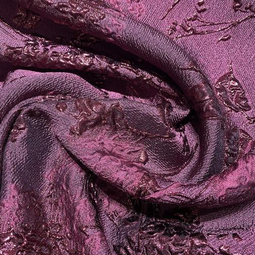 Purple floral print silk brocade fabric