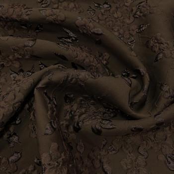 Tissu brocart de soie imprimé floral marron