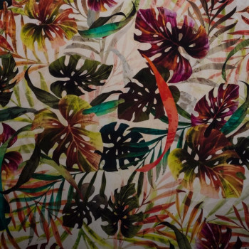 Tropical digital print satin cotton fabric