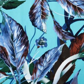 Sky blue botanical print stretch cotton satin fabric