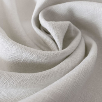 Pure white 100% linen fabric