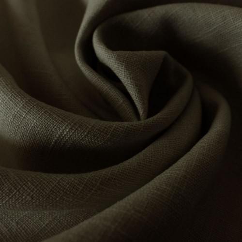 Khaki green 100% linen fabric
