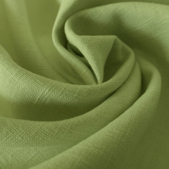 Tissu 100% pur lin vert anis