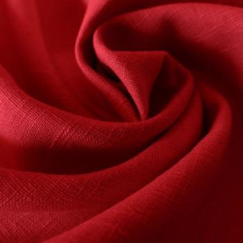 Tissu 100% pur lin rouge