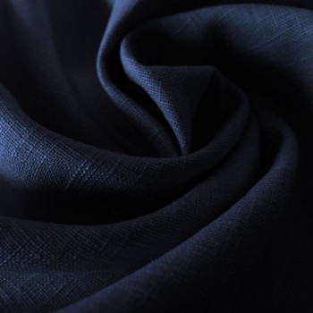 Navy blue 100% linen fabric