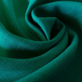 Tissu 100% pur lin vert émeraude