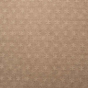 Beige embroidered linen fabric
