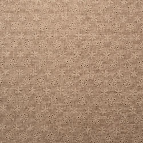 Tissu lin brodé beige