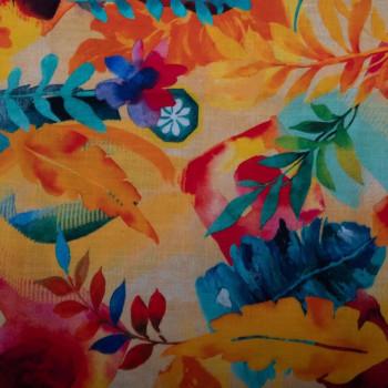 Tissu lin imprimé floral sur fond orange