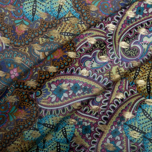 Chiffon fabric with paisley print and gold leaves