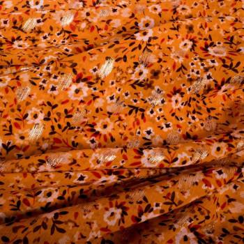Tissu mousseline imprimé floral et feuilles or