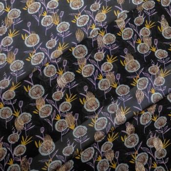 Tissu mousseline crêpe imprimé et feuilles or