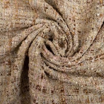 Tissu tissé et irisé effet tweed beige