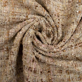 Woven and iridescent beige tweed effect fabric