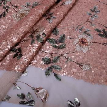 Tissu paillettes fleurs en relief rose