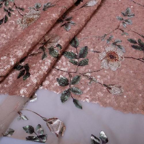 Sequin flowers fabric in pink relief