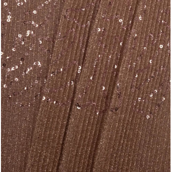 Copper pleated sequins fabric