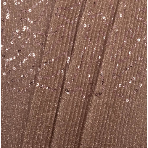 Rose gold pleated sequins fabric