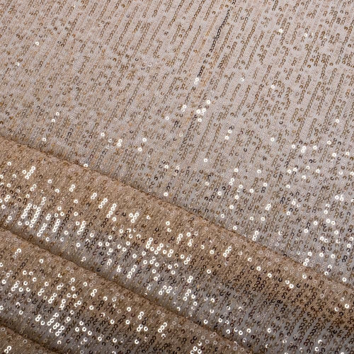 Beige striped sequins fabric
