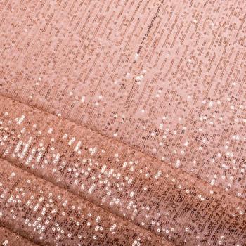 Tissu paillettes rayées rose