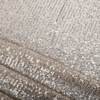 Silver striped sequins fabric