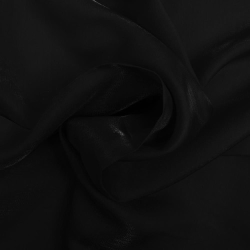 Black iridescent satin fabric