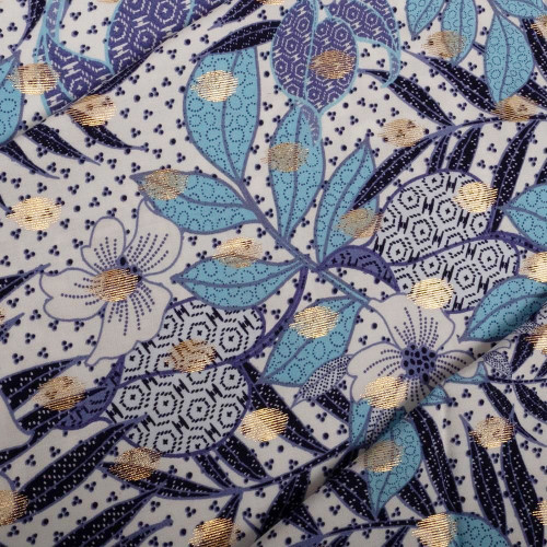 Viscose poplin fabric with floral print and gold leaves