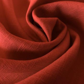 Tissu 100% pur lin rouille tomette