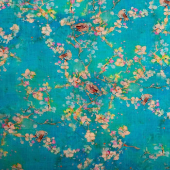 Blue/green turquoise floral print linen fabric