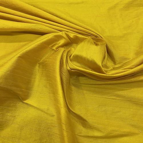 Tissu doupion de soie indien flammé 100% soie jaune