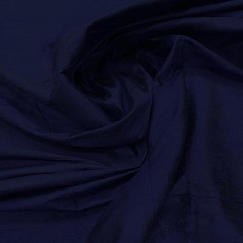 Tissu doupion de soie indien flammé 100% soie bleu marine