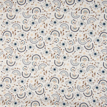 copy of 100% cotton poplin fabric with arabesque raw white print