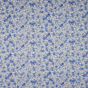 100% cotton poplin fabric with digital print blue floral