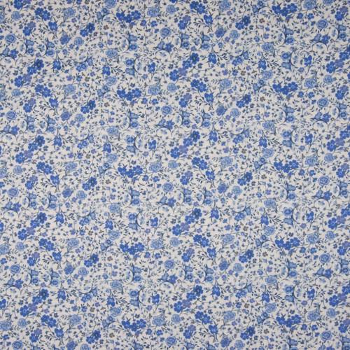 Tissu popeline 100% coton impression numérique floral bleu
