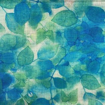 Tissu lin imprimé floral bleu/vert turquoise